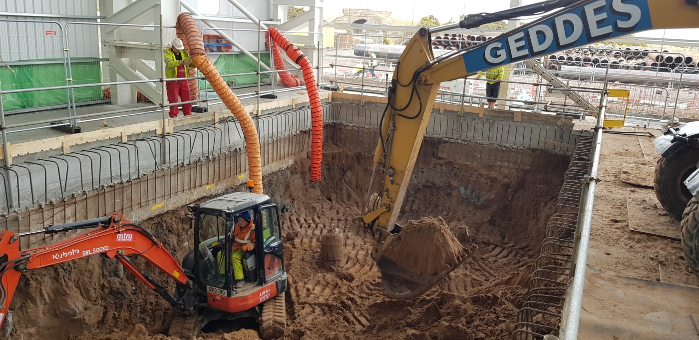 Secant wall excavation