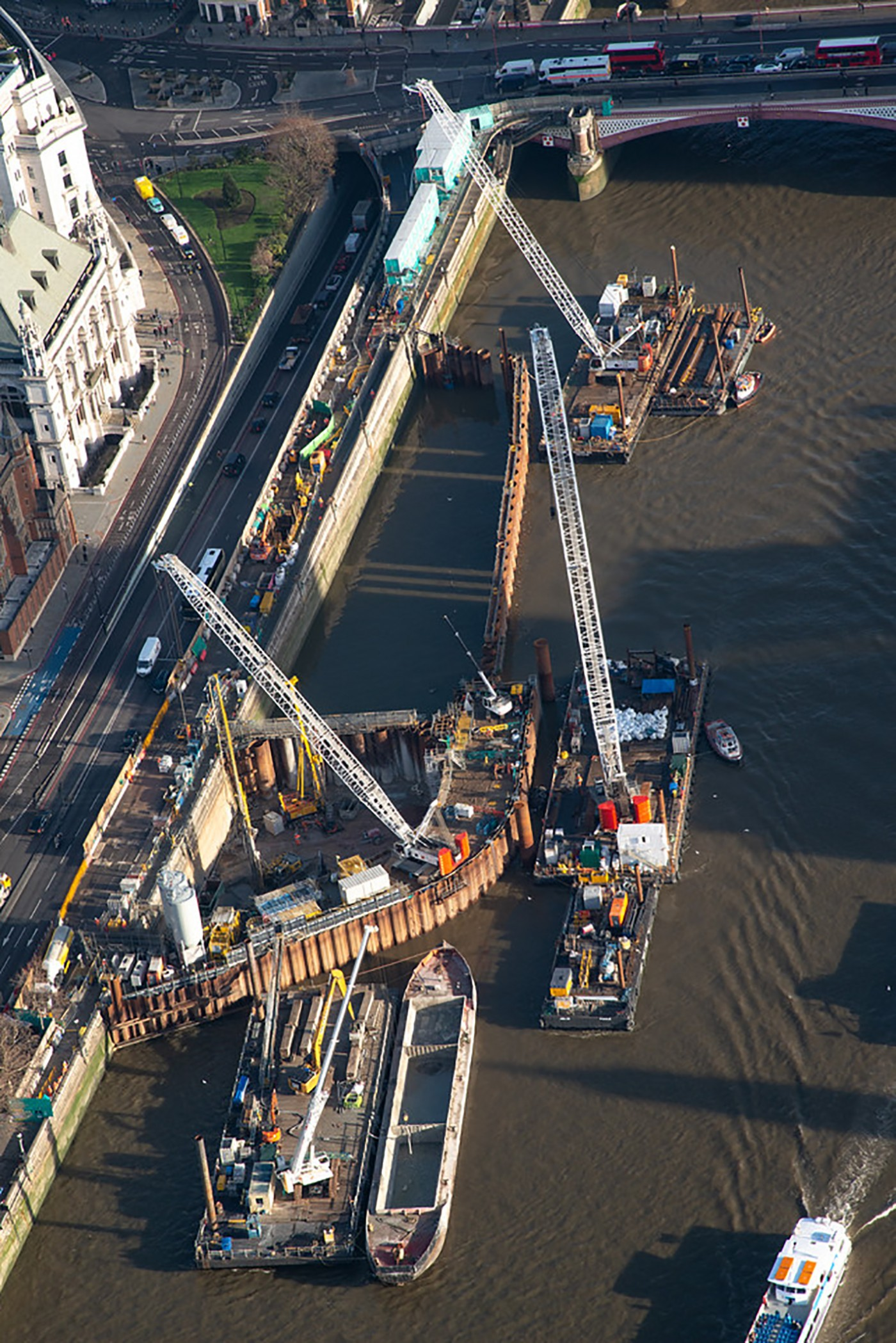 An aerial view of the cofferdam