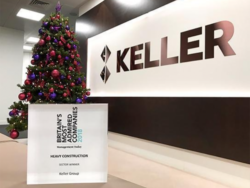 Keller award for Britain's Most Admired Companies 2018