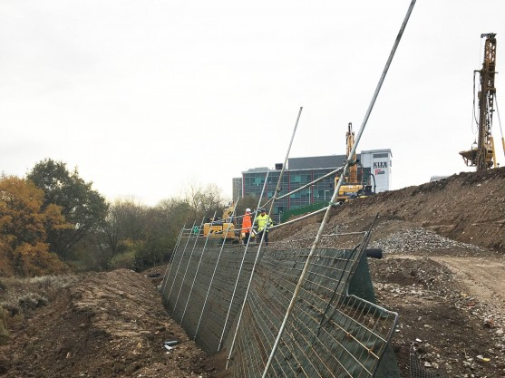 Work progressing on a Phi Group Textomur reinforced soil slope at Epping