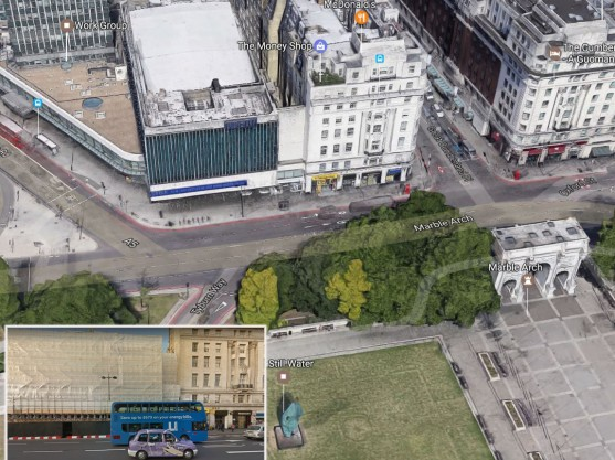 The Marble Arch site and (inset) proximity to neighbouring buildings