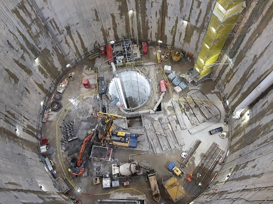 An overhead view of the shaft