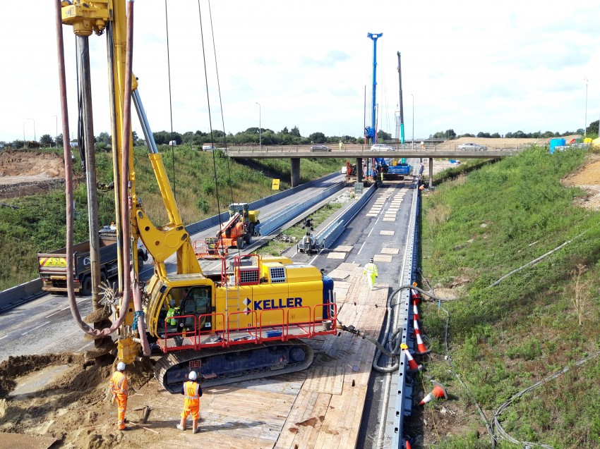 Work on the A13 carriageway during the weekend shutdown