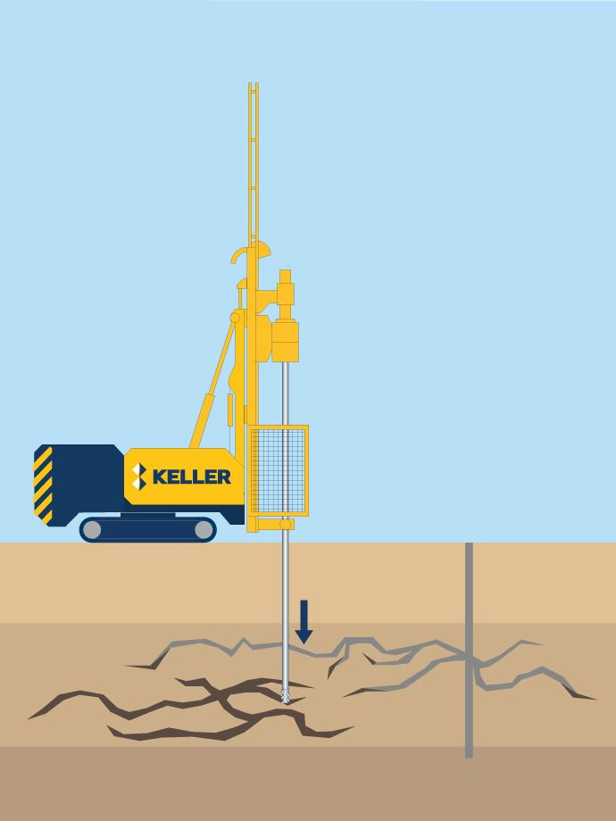 Keller rig performing rock/fissure grouting